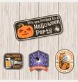 halloween beer party patch retro badge vector image