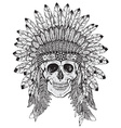 Hand drawn of Indian headdress with human sk vector image
