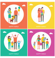 happy family posters text set vector image vector image