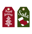 happy holidays sale promo labels red sock and tree vector image