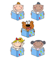 Kids and Bear Reading A Book- Collection vector image vector image