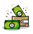 linear wallet with flat bills money icons vector image vector image