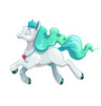 little cute cartoon flying white horse icon vector image