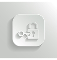 Lock icon - white app button vector image vector image