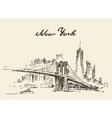 Manhattan bridge New York US drawn vector image vector image