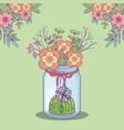mason jar flowers cactus floral corner decoration vector image