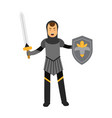medieval amed knight character standing with vector image vector image