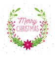 merry christmas celebration flower leaves berries vector image vector image
