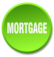 mortgage green round flat isolated push button vector image vector image