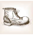 Old boot hand drawn sketch style vector image
