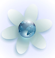planet earth in the center of the white flower vector image vector image