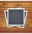 realistic vintage photo frames wooden boards vector image