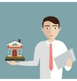 Realtor holds a house and contract in hand vector image vector image