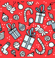 red pattern with gift boxes socks and sweets vector image