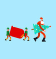santa and christmas tree elves and red bag new vector image vector image