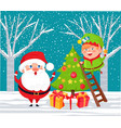 santa claus and elf decorating pine tree on xmas vector image