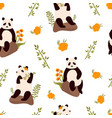 seamless pattern with cute funny pandas vector image vector image