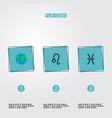 set of galaxy icons flat style symbols with globe vector image