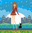 sexy girl walking with a dog in the night vector image