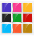 shiny glossy square buttons with metal frame vector image vector image