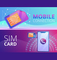 sim phone card banner set cartoon style vector image