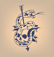 snake on a skull pierced with an arrow vector image vector image