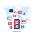 social network concept mobile smart phone with vector image vector image