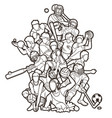 sport players action mix cartoon graphic vector image