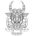 Taurus zodiac sign coloring book for adults vector image vector image