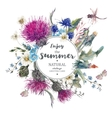 Vintage Natural Herbal Greeting Card with Blooming vector image