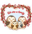 watercolor cute barn owls family on a heart wreath vector image