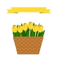 Wattled basket with flowers vector image vector image