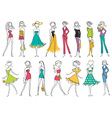 Women in modern fashion clothes isolated on white vector image vector image