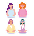 young group female characters women cartoon vector image vector image
