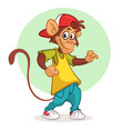 cool monkey dancing in modern clothes vector image