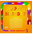 Birthday greetings on an orange background vector image
