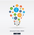 brainstorm integrated thin line icons in idea vector image