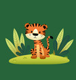 a cartoon tiger and tropical leaves vector image vector image