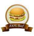 a pure beef label with burger