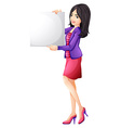 A woman holding an empty board vector image vector image