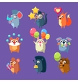 Animals With Party Elements Set vector image vector image