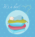 baboy sleeping on pillows card in vector image vector image
