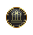 bank icon button gold copy vector image