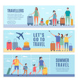 banners summer characters people goes to vector image vector image