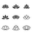 Black lotus icons set on white background