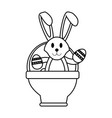 bunny or rabbit with egg and basket easter related vector image vector image