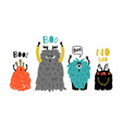 cartoon cute boo monsters vector image