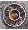 Cartoon hand-drawn doodles Musical cup of coffee vector image vector image