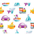 cartoon toy transport seamless pattern cute 3d vector image vector image