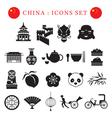 China Mono Icons Set vector image